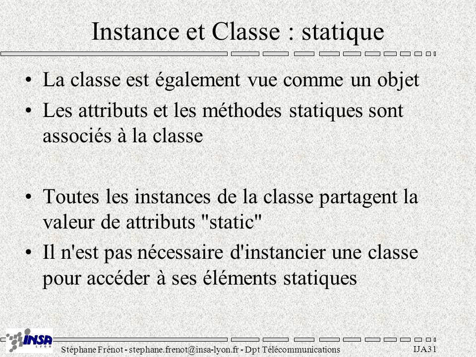 Stéphane Frénot - stephane.frenot@insa-lyon.fr - Dpt Télécommunications IJA31 Instance et Classe : statique La classe est également vue comme un objet