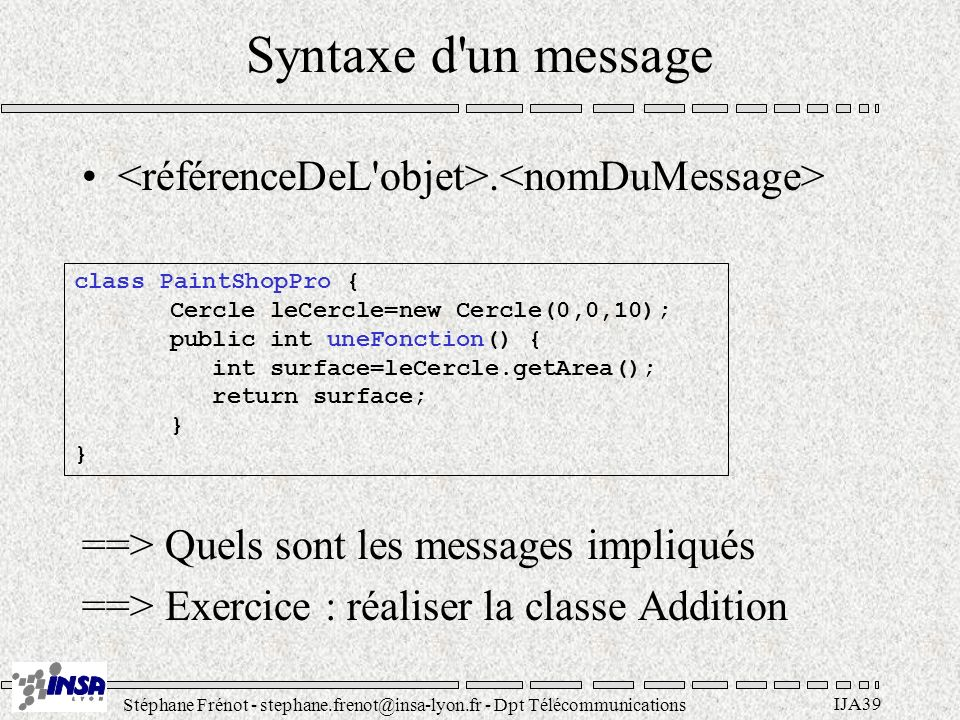 Stéphane Frénot - stephane.frenot@insa-lyon.fr - Dpt Télécommunications IJA39 Syntaxe d'un message. ==> Quels sont les messages impliqués ==> Exercice