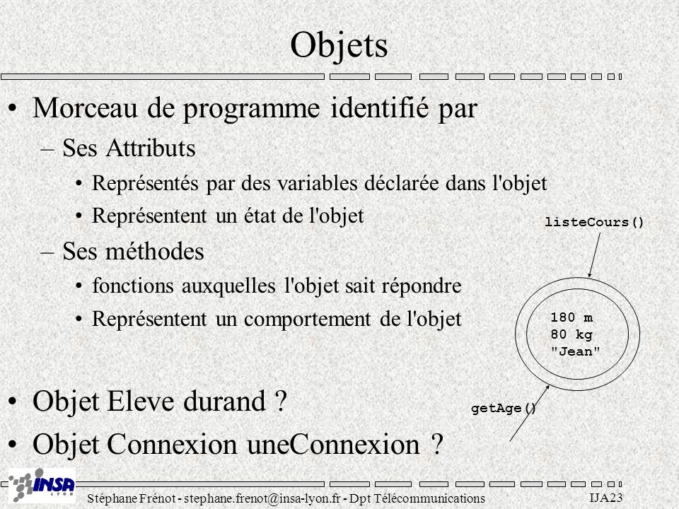 Stéphane Frénot - stephane.frenot@insa-lyon.fr - Dpt Télécommunications IJA94 Trucs & @stuches