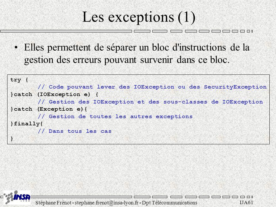 Stéphane Frénot - stephane.frenot@insa-lyon.fr - Dpt Télécommunications IJA61 Les exceptions (1) Elles permettent de séparer un bloc d'instructions de