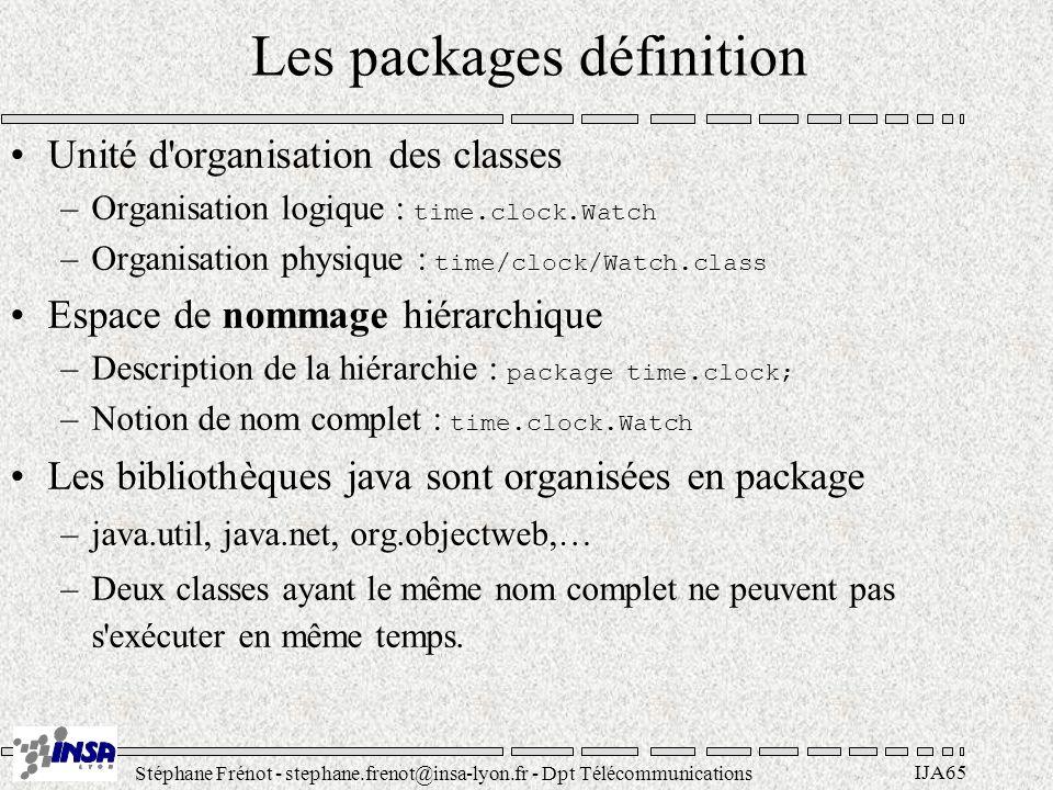 Stéphane Frénot - stephane.frenot@insa-lyon.fr - Dpt Télécommunications IJA65 Les packages définition Unité d'organisation des classes –Organisation l