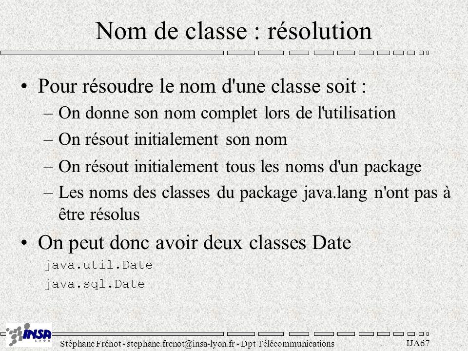 Stéphane Frénot - stephane.frenot@insa-lyon.fr - Dpt Télécommunications IJA67 Nom de classe : résolution Pour résoudre le nom d'une classe soit : –On