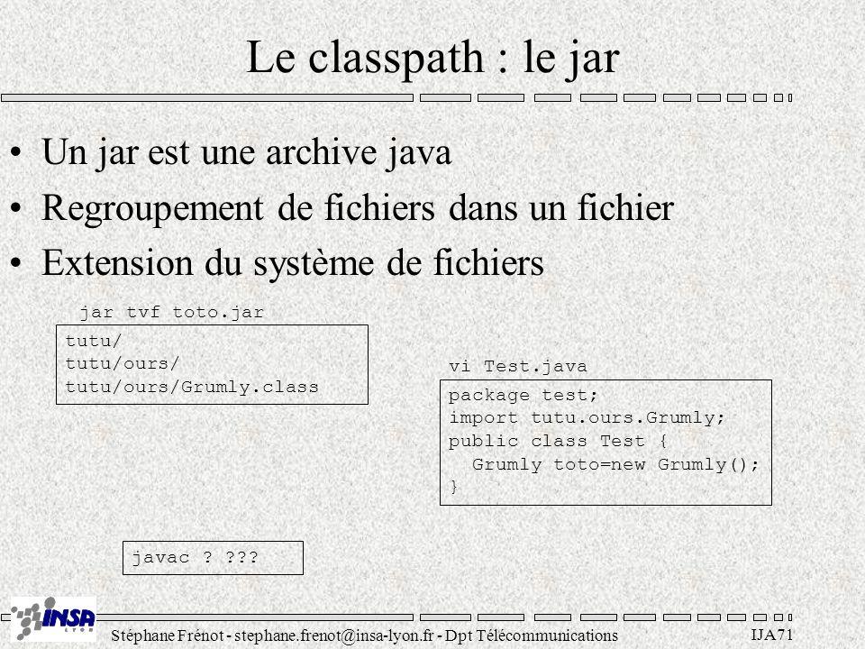 Stéphane Frénot - stephane.frenot@insa-lyon.fr - Dpt Télécommunications IJA71 Le classpath : le jar Un jar est une archive java Regroupement de fichiers dans un fichier Extension du système de fichiers tutu/ tutu/ours/ tutu/ours/Grumly.class package test; import tutu.ours.Grumly; public class Test { Grumly toto=new Grumly(); } jar tvf toto.jar vi Test.java javac .