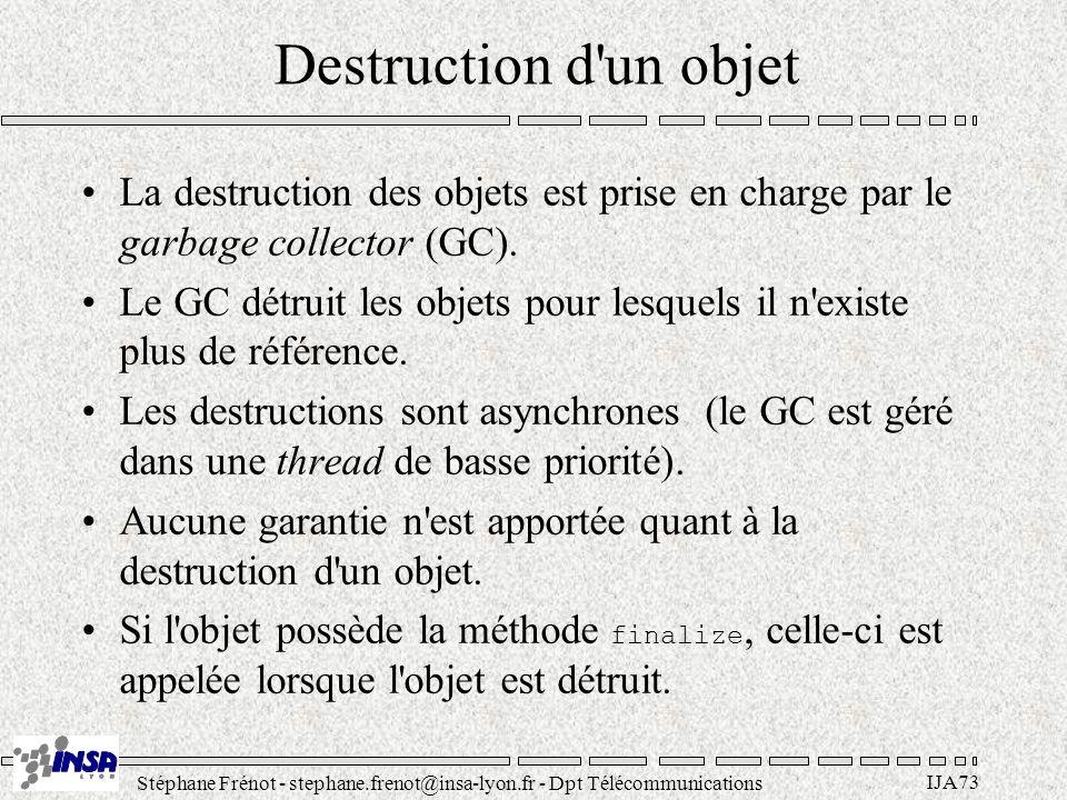 Stéphane Frénot - stephane.frenot@insa-lyon.fr - Dpt Télécommunications IJA73 Destruction d un objet La destruction des objets est prise en charge par le garbage collector (GC).