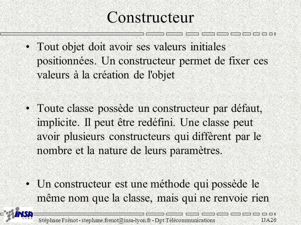 Stéphane Frénot - stephane.frenot@insa-lyon.fr - Dpt Télécommunications IJA57 Bases du langage Types –byte : 1 octet –short : 2 octets –int : 4 octets –long : 8 octets –float : 4 octets –double : 8 octets –boolean : true false –char : 2 octets (Unicode) Instructions –if –while, do while, for –selection (switch) Opérateurs –Arithmétique : =+-*/% –Relationnels : <> = == != –Logiques : .