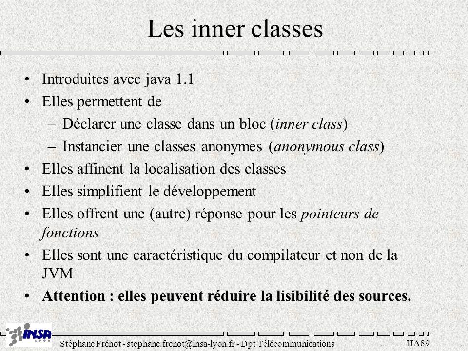 Stéphane Frénot - stephane.frenot@insa-lyon.fr - Dpt Télécommunications IJA89 Les inner classes Introduites avec java 1.1 Elles permettent de –Déclare