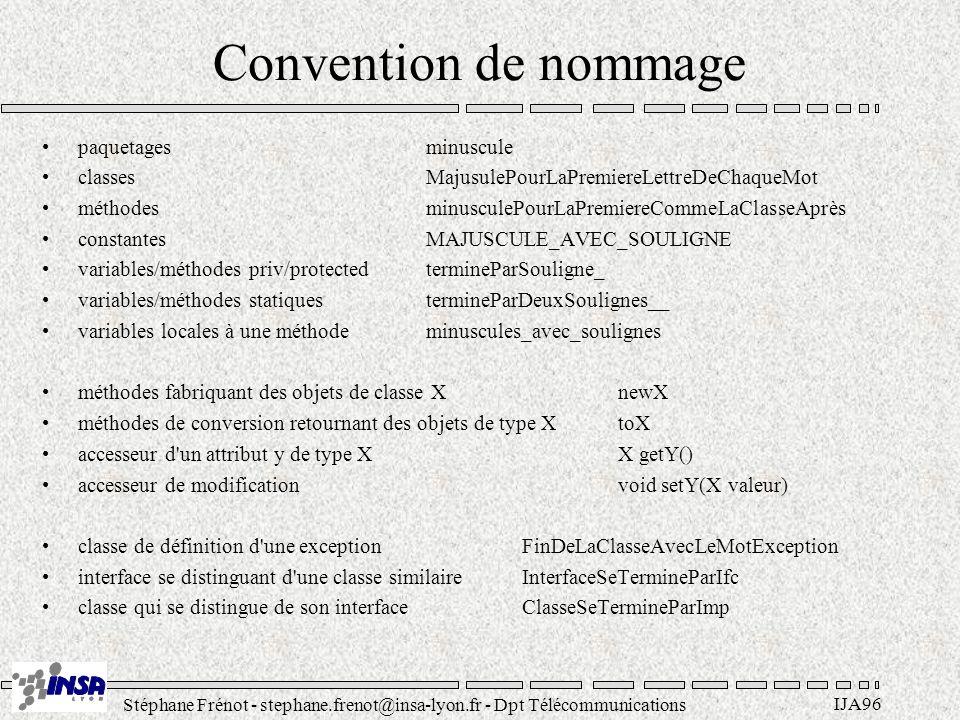 Stéphane Frénot - stephane.frenot@insa-lyon.fr - Dpt Télécommunications IJA96 Convention de nommage paquetagesminuscule classesMajusulePourLaPremiereL