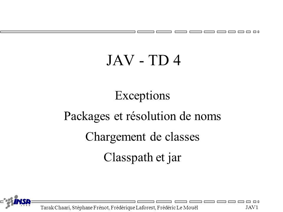 Tarak Chaari, Stéphane Frénot, Frédérique Laforest, Frédéric Le Mouël JAV1 JAV - TD 4 Exceptions Packages et résolution de noms Chargement de classes