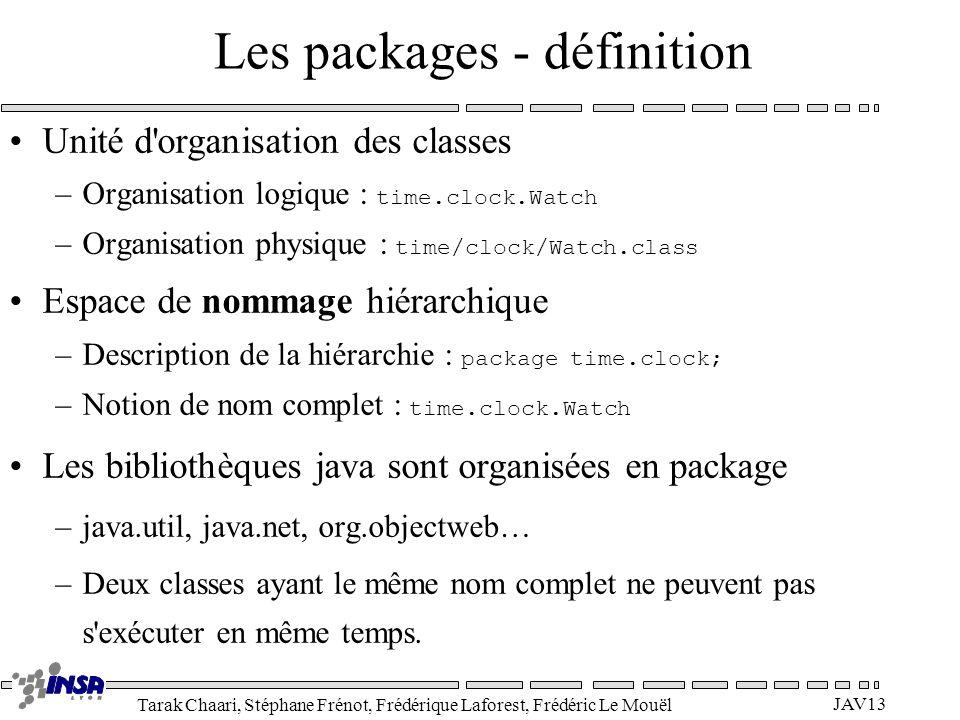 Tarak Chaari, Stéphane Frénot, Frédérique Laforest, Frédéric Le Mouël JAV13 Les packages - définition Unité d'organisation des classes –Organisation l