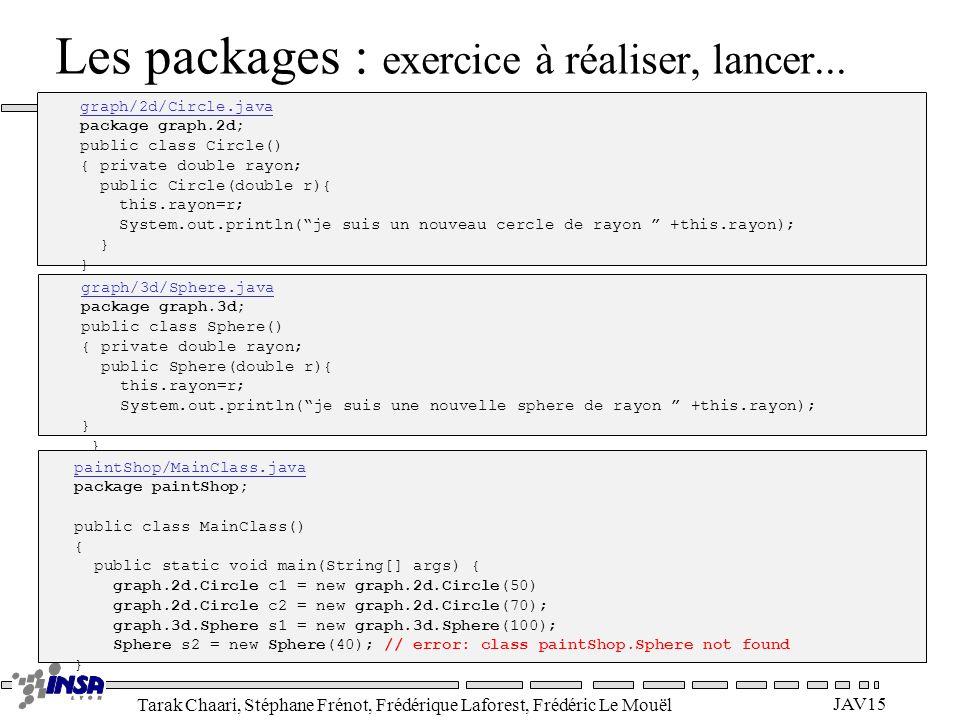 Tarak Chaari, Stéphane Frénot, Frédérique Laforest, Frédéric Le Mouël JAV15 Les packages : exercice à réaliser, lancer... graph/2d/Circle.java package