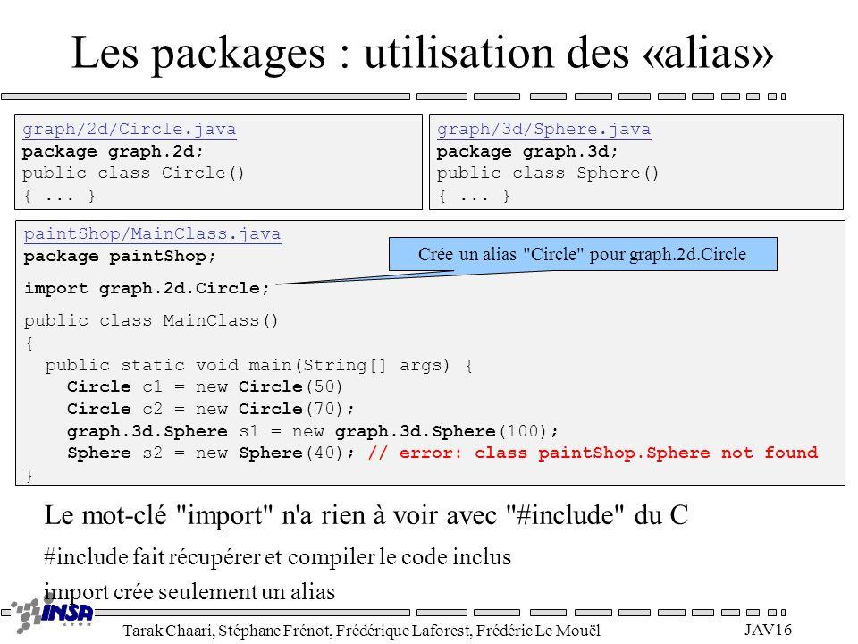 Tarak Chaari, Stéphane Frénot, Frédérique Laforest, Frédéric Le Mouël JAV16 Les packages : utilisation des «alias» graph/2d/Circle.java package graph.