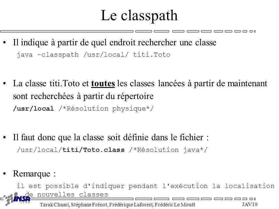 Tarak Chaari, Stéphane Frénot, Frédérique Laforest, Frédéric Le Mouël JAV19 Le classpath Il indique à partir de quel endroit rechercher une classe jav
