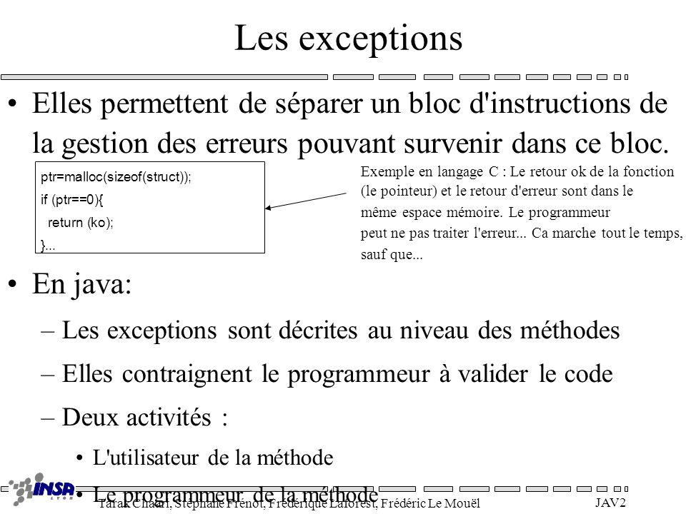 Tarak Chaari, Stéphane Frénot, Frédérique Laforest, Frédéric Le Mouël JAV2 Les exceptions Elles permettent de séparer un bloc d'instructions de la ges