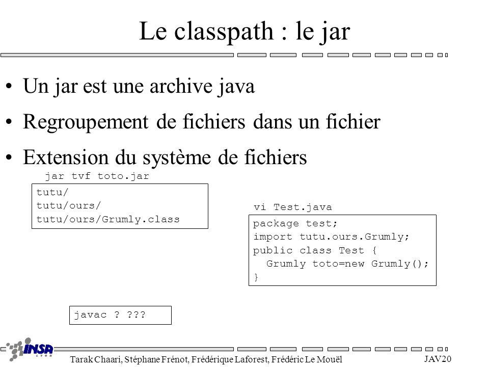 Tarak Chaari, Stéphane Frénot, Frédérique Laforest, Frédéric Le Mouël JAV20 Le classpath : le jar Un jar est une archive java Regroupement de fichiers