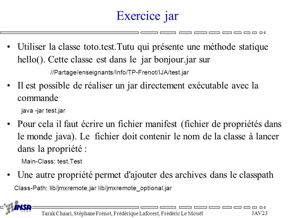 Tarak Chaari, Stéphane Frénot, Frédérique Laforest, Frédéric Le Mouël JAV23 Exercice jar Utiliser la classe toto.test.Tutu qui présente une méthode st