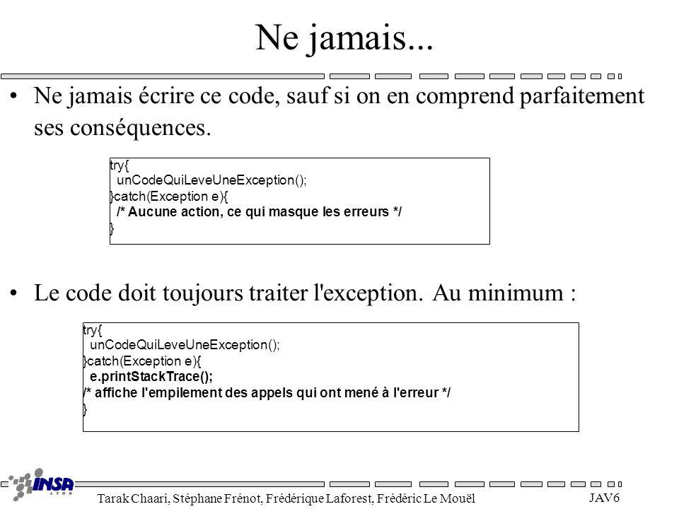 Tarak Chaari, Stéphane Frénot, Frédérique Laforest, Frédéric Le Mouël JAV6 Ne jamais... Ne jamais écrire ce code, sauf si on en comprend parfaitement