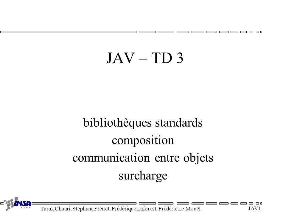 Tarak Chaari, Stéphane Frénot, Frédérique Laforest, Frédéric Le-Mouël JAV2 Les tableaux Déclaration int[] array_of_int; // équivalent à : int array_of_int[]; Color rgb_cube[][][]; Création et initialisation array_of_int = new int[42]; rgb_cube = new Color[256][256][256]; int[] primes = {1, 2, 3, 5, 7, 7+4}; array_of_int[0] = 3; Utilisation int l = array_of_int.length;// l = 42 int e = array_of_int[40];