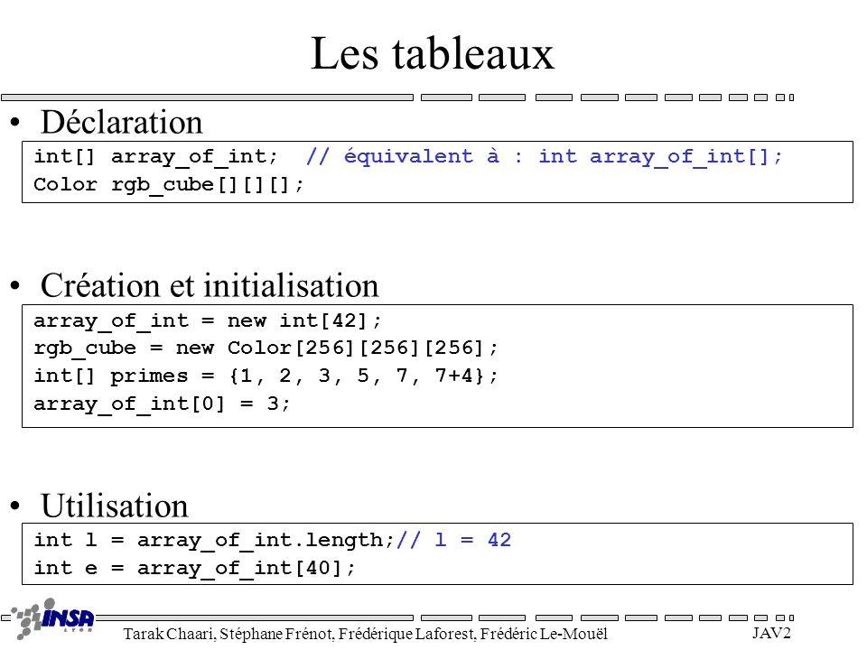 Tarak Chaari, Stéphane Frénot, Frédérique Laforest, Frédéric Le-Mouël JAV2 Les tableaux Déclaration int[] array_of_int; // équivalent à : int array_of