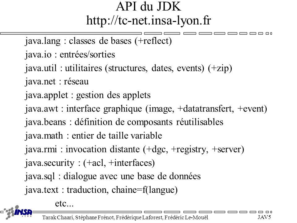 Tarak Chaari, Stéphane Frénot, Frédérique Laforest, Frédéric Le-Mouël JAV5 API du JDK http://tc-net.insa-lyon.fr java.lang : classes de bases (+reflec