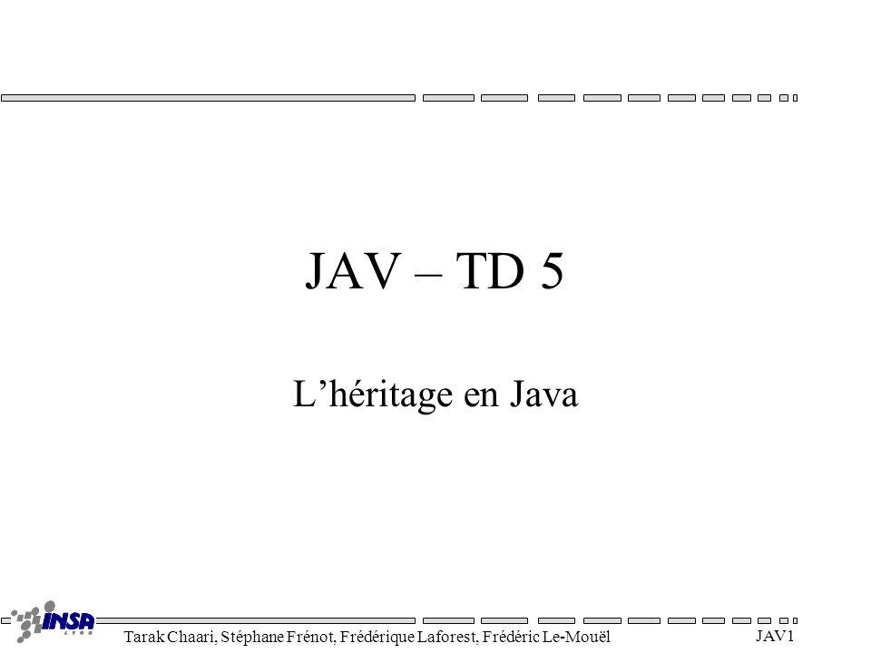 Tarak Chaari, Stéphane Frénot, Frédérique Laforest, Frédéric Le-Mouël JAV1 JAV – TD 5 Lhéritage en Java
