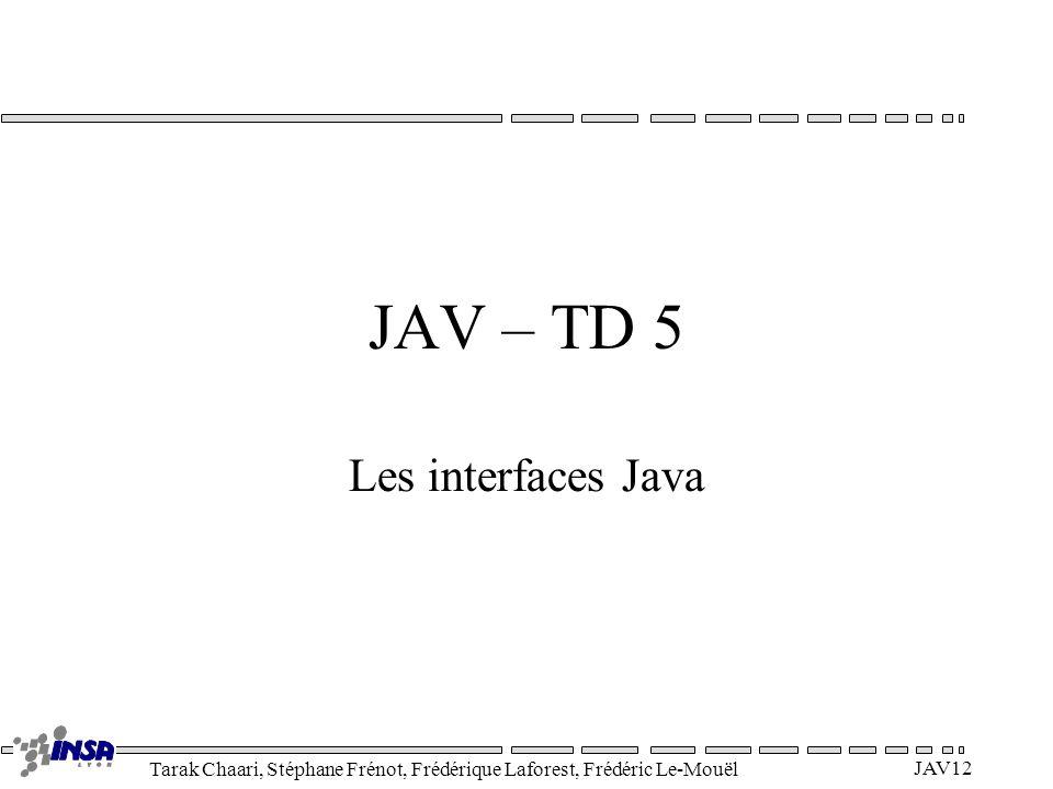Tarak Chaari, Stéphane Frénot, Frédérique Laforest, Frédéric Le-Mouël JAV12 JAV – TD 5 Les interfaces Java