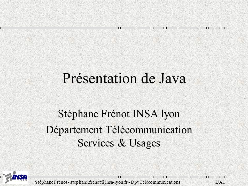 Stéphane Frénot - stephane.frenot@insa-lyon.fr - Dpt TélécommunicationsIJA12 Java est distribué API réseau (java.net.Socket, java.net.URL,...).