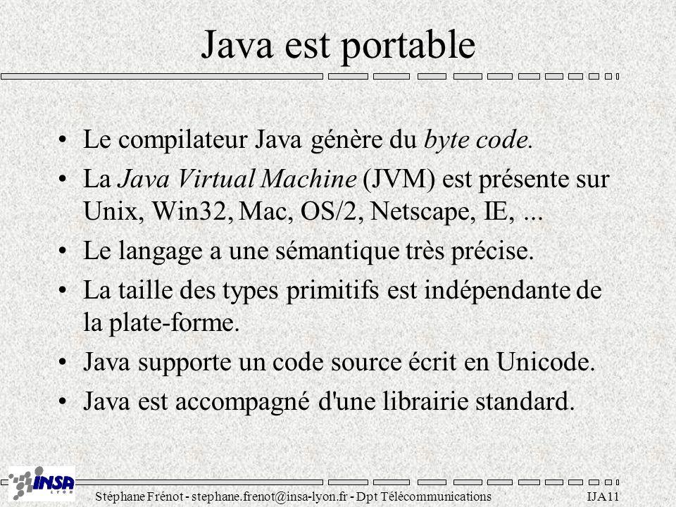 Stéphane Frénot - stephane.frenot@insa-lyon.fr - Dpt TélécommunicationsIJA11 Java est portable Le compilateur Java génère du byte code. La Java Virtua