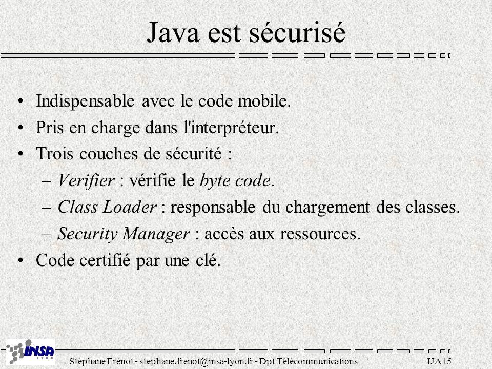 Stéphane Frénot - stephane.frenot@insa-lyon.fr - Dpt TélécommunicationsIJA15 Java est sécurisé Indispensable avec le code mobile. Pris en charge dans