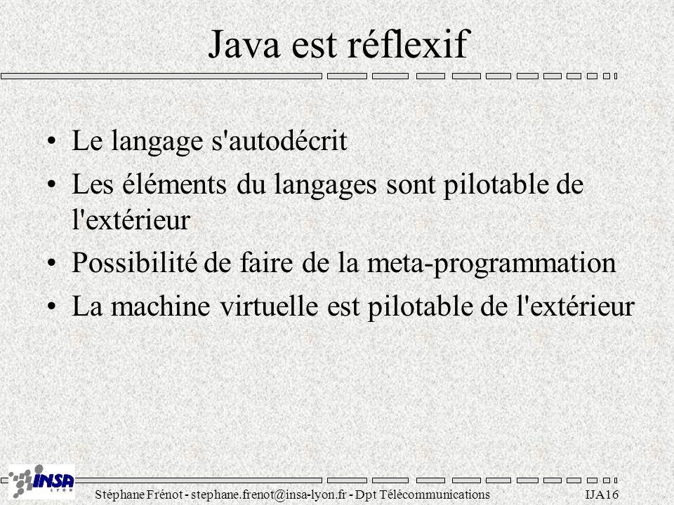 Stéphane Frénot - stephane.frenot@insa-lyon.fr - Dpt TélécommunicationsIJA16 Java est réflexif Le langage s'autodécrit Les éléments du langages sont p