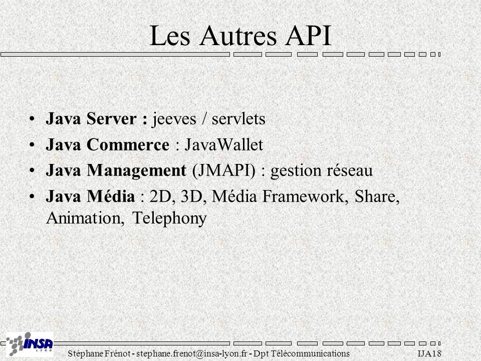 Stéphane Frénot - stephane.frenot@insa-lyon.fr - Dpt TélécommunicationsIJA18 Les Autres API Java Server : jeeves / servlets Java Commerce : JavaWallet