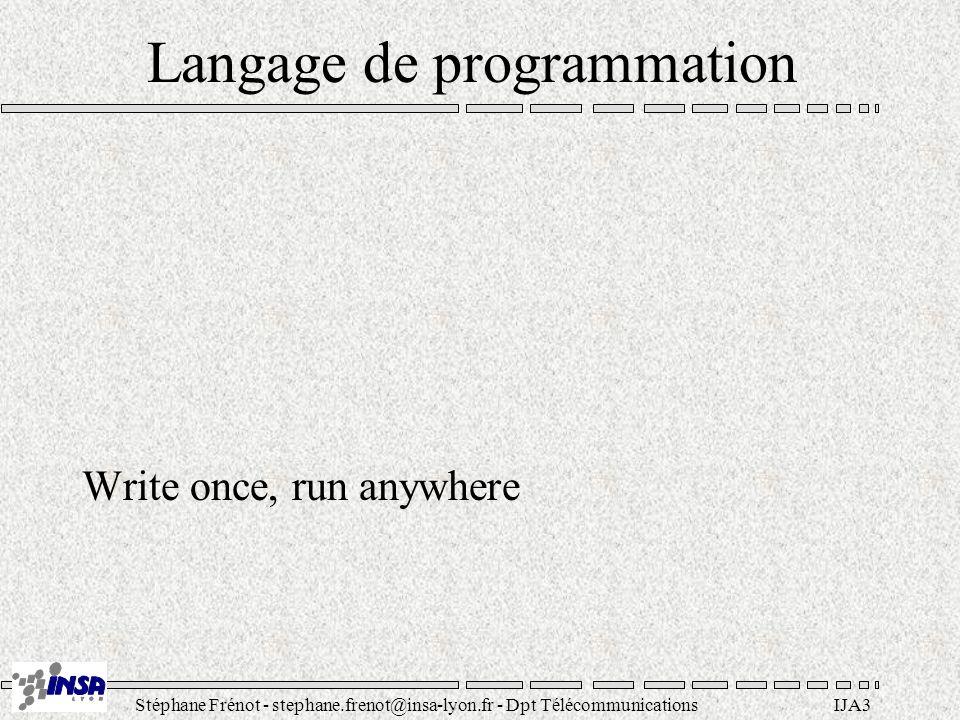 Stéphane Frénot - stephane.frenot@insa-lyon.fr - Dpt TélécommunicationsIJA4 Java .
