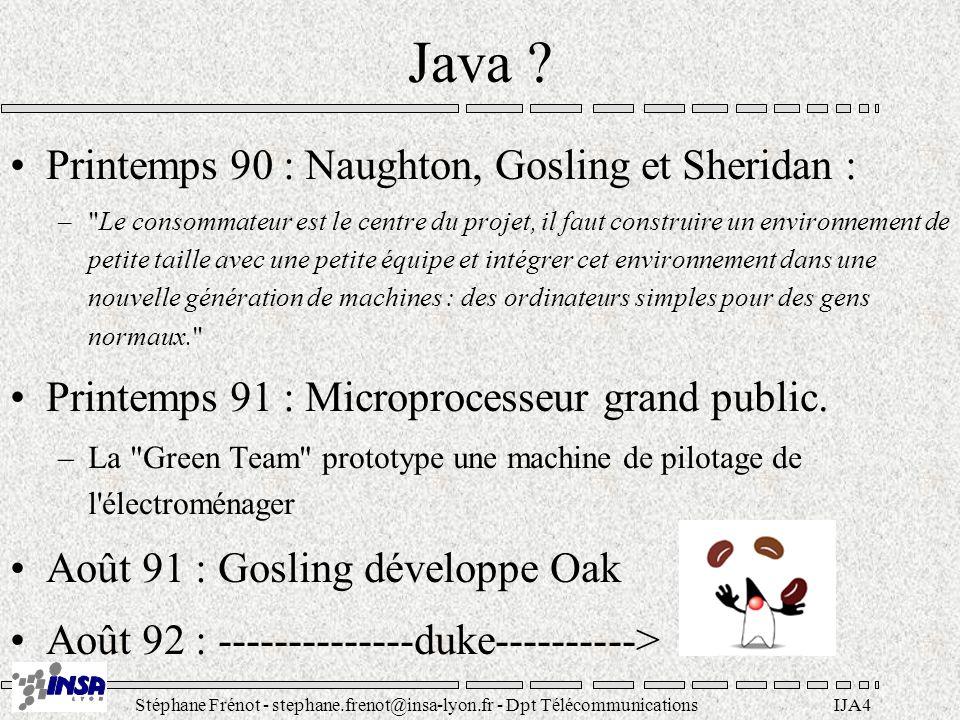 Stéphane Frénot - stephane.frenot@insa-lyon.fr - Dpt TélécommunicationsIJA4 Java ? Printemps 90 : Naughton, Gosling et Sheridan : –