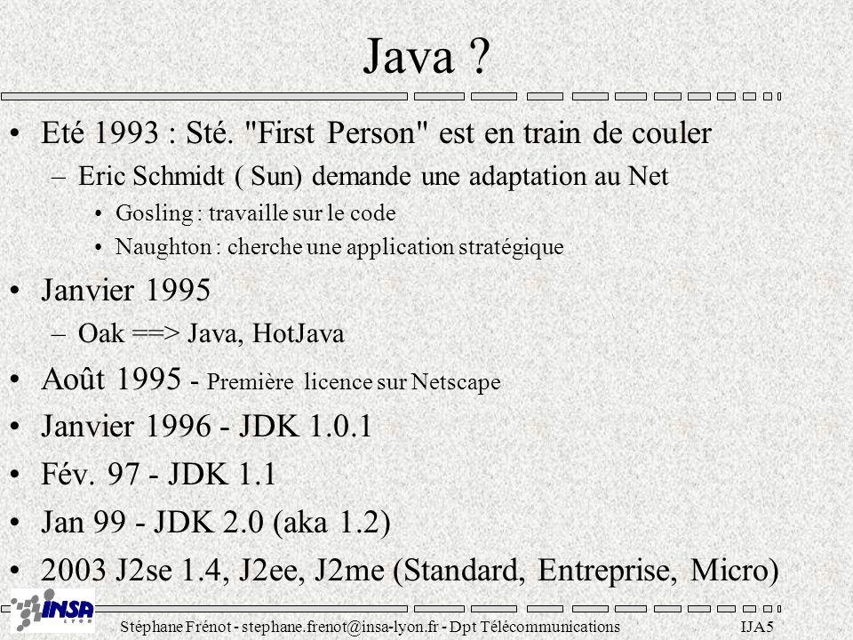Stéphane Frénot - stephane.frenot@insa-lyon.fr - Dpt TélécommunicationsIJA16 Java est réflexif Le langage s autodécrit Les éléments du langages sont pilotable de l extérieur Possibilité de faire de la meta-programmation La machine virtuelle est pilotable de l extérieur