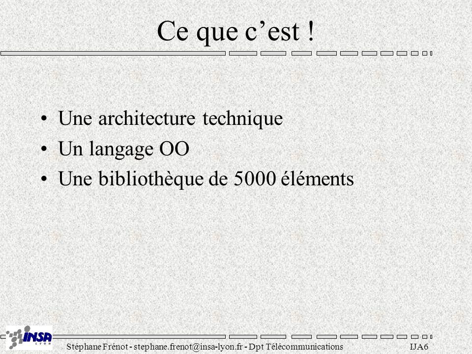 Stéphane Frénot - stephane.frenot@insa-lyon.fr - Dpt TélécommunicationsIJA17 API du JDK (Paquetages) java.lang : classes de bases (+reflect) java.io : entrées/sorties java.util : utilitaires (structures, dates, events) (+zip) java.net : réseau java.applet : gestion des applets java.awt : interface graphique (image, +datatransfert, +event) java.beans : définition de composants réutilisables java.math : entier de taille variable java.rmi : invocation distante (+dgc, +registry, +server) java.security : (+acl, +interfaces) java.sql : jdbc...