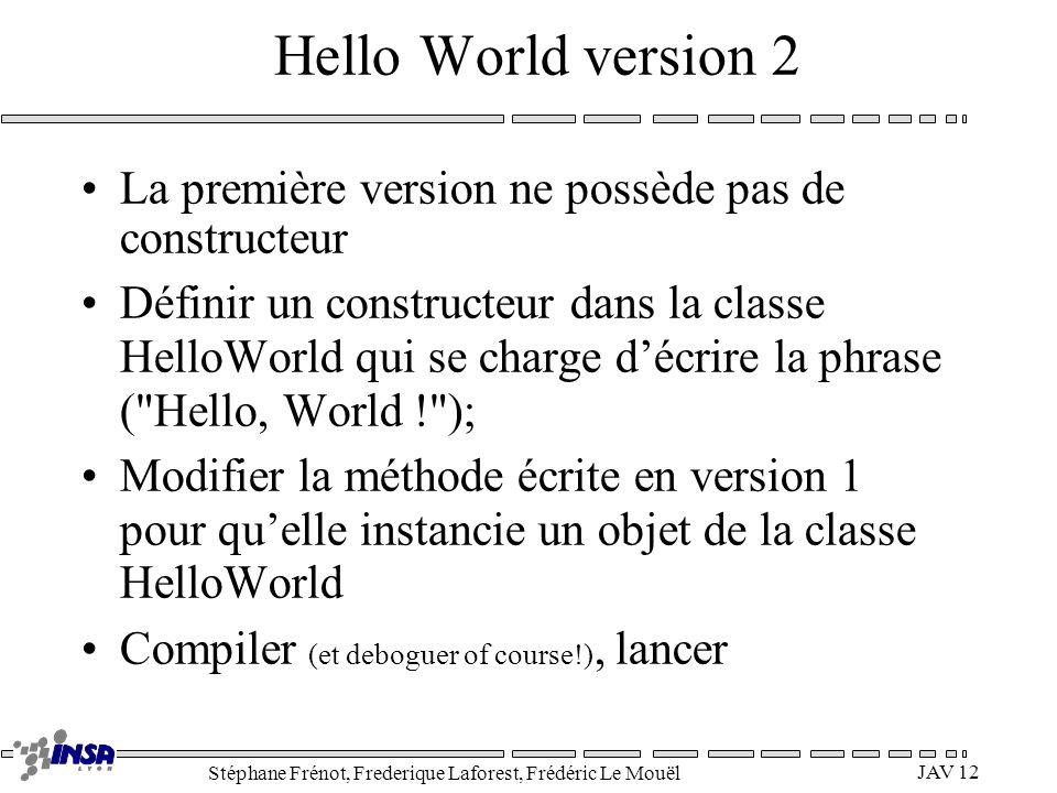 Stéphane Frénot, Frederique Laforest, Frédéric Le Mouël JAV 12 Hello World version 2 La première version ne possède pas de constructeur Définir un con