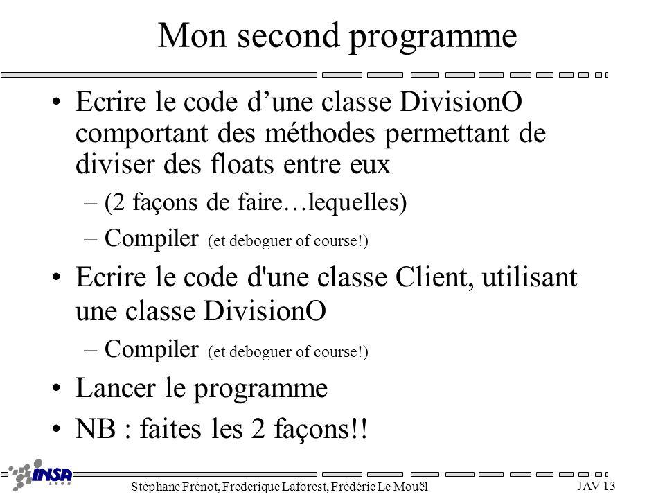 Stéphane Frénot, Frederique Laforest, Frédéric Le Mouël JAV 13 Mon second programme Ecrire le code dune classe DivisionO comportant des méthodes perme