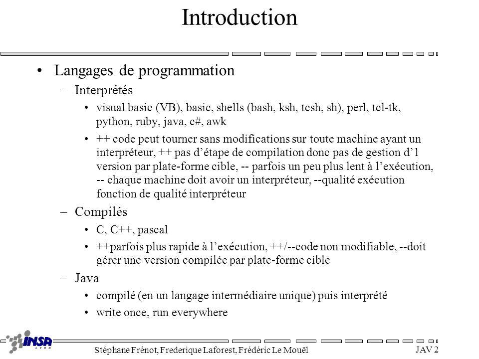 Stéphane Frénot, Frederique Laforest, Frédéric Le Mouël JAV 2 Introduction Langages de programmation –Interprétés visual basic (VB), basic, shells (ba