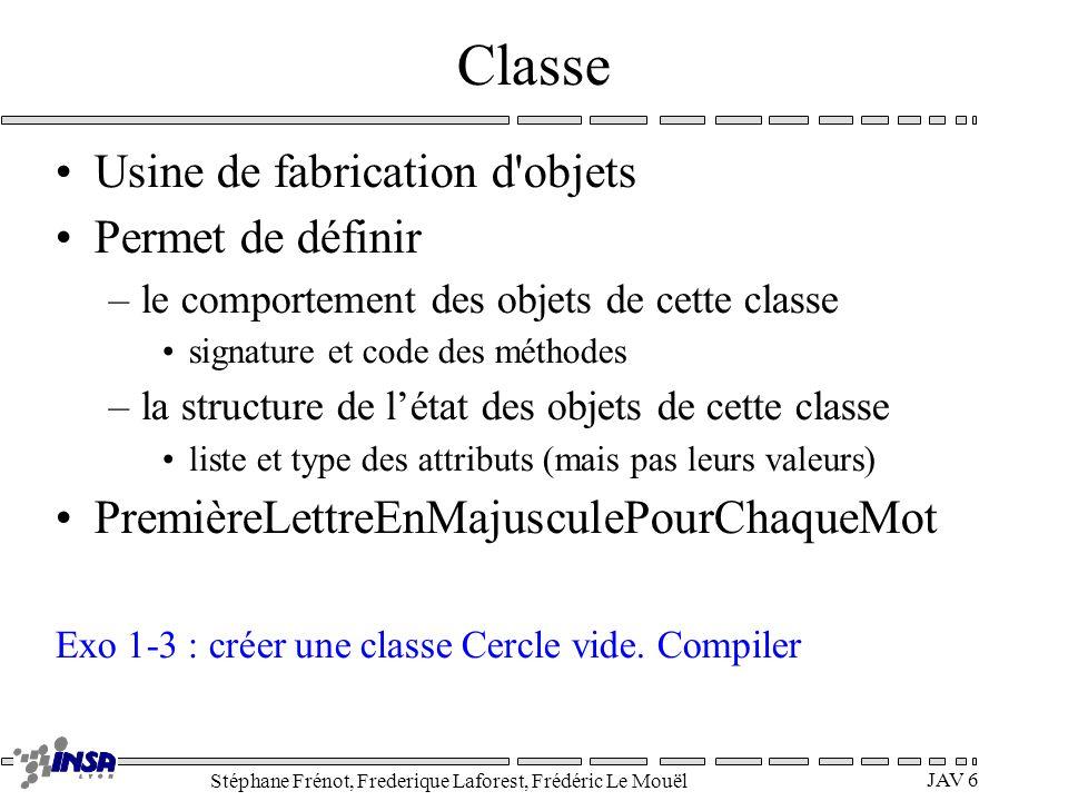 Stéphane Frénot, Frederique Laforest, Frédéric Le Mouël JAV 6 Classe Usine de fabrication d'objets Permet de définir –le comportement des objets de ce