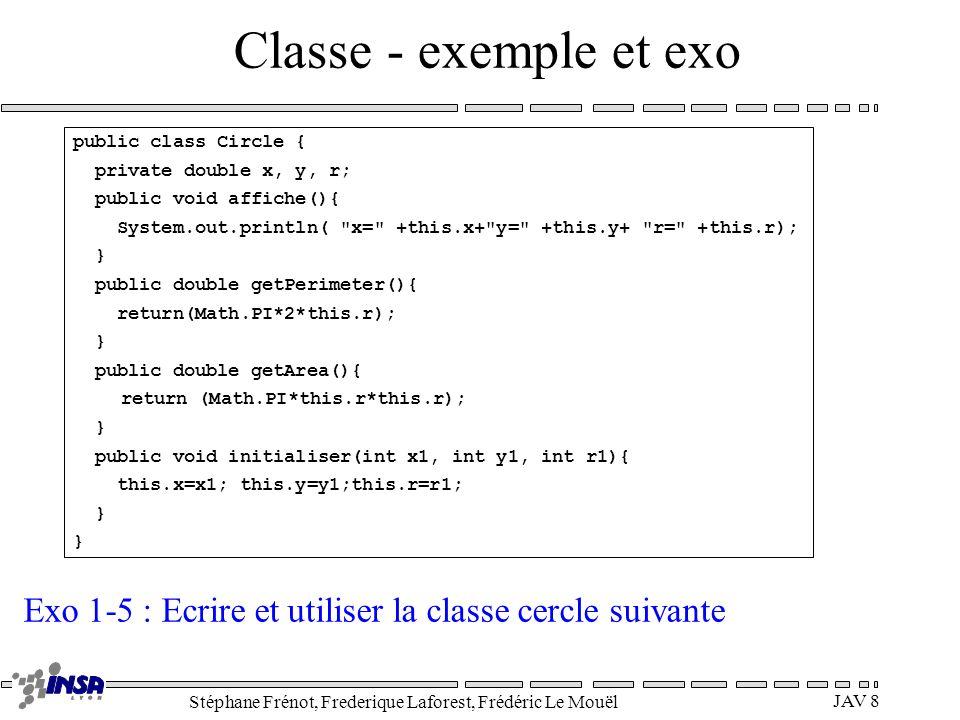 Stéphane Frénot, Frederique Laforest, Frédéric Le Mouël JAV 8 Classe - exemple et exo public class Circle { private double x, y, r; public void affich