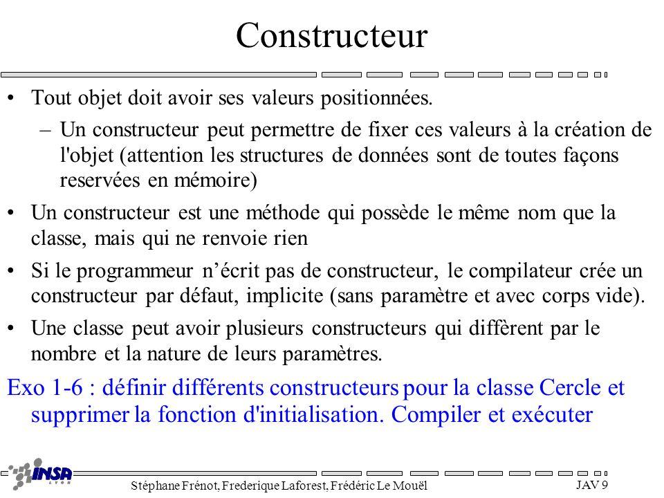 Stéphane Frénot, Frederique Laforest, Frédéric Le Mouël JAV 9 Constructeur Tout objet doit avoir ses valeurs positionnées. –Un constructeur peut perme