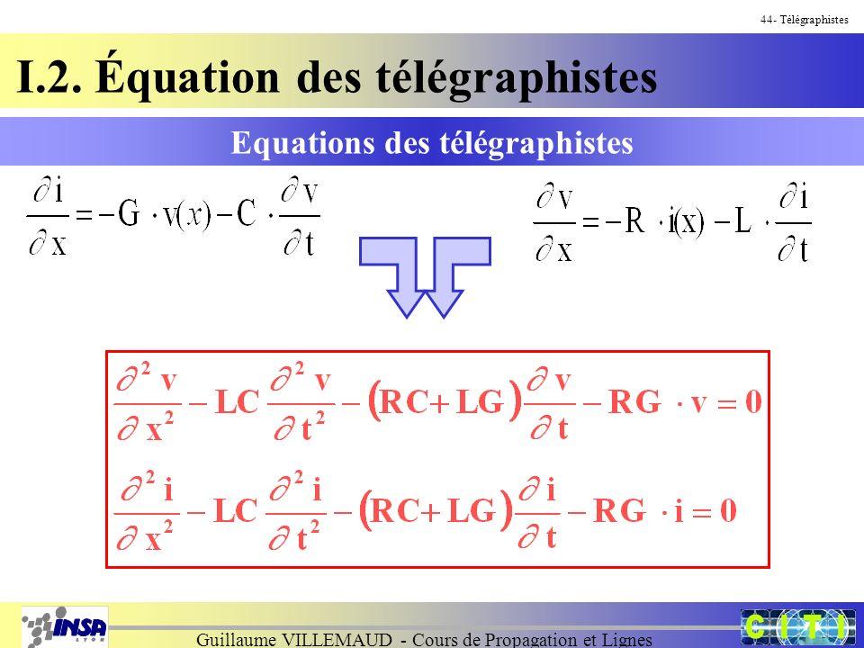 Guillaume VILLEMAUD - Cours de Propagation et Lignes Equations des télégraphistes 44- Télégraphistes I.2. Équation des télégraphistes