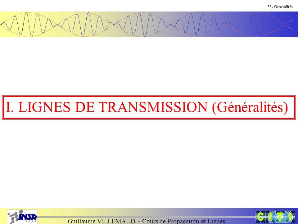 Guillaume VILLEMAUD - Cours de Propagation et Lignes 33- Généralités I. LIGNES DE TRANSMISSION (Généralités)
