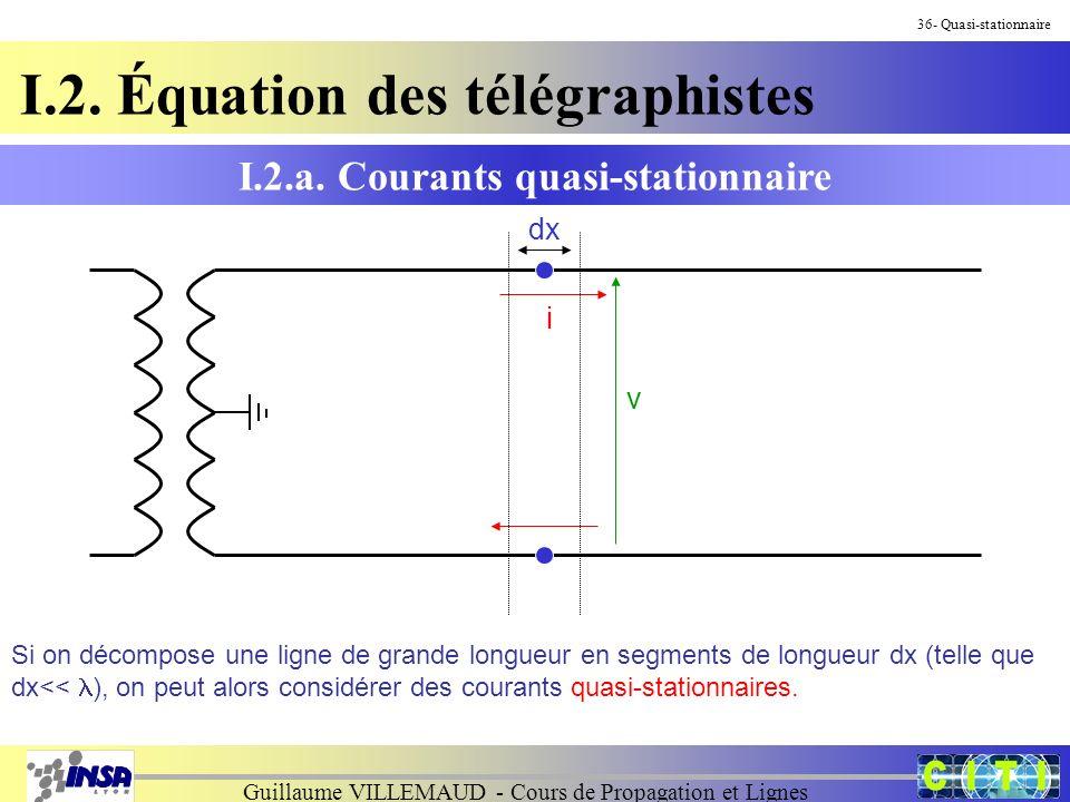 Guillaume VILLEMAUD - Cours de Propagation et Lignes I.2. Équation des télégraphistes I.2.a. Courants quasi-stationnaire 36- Quasi-stationnaire Si on