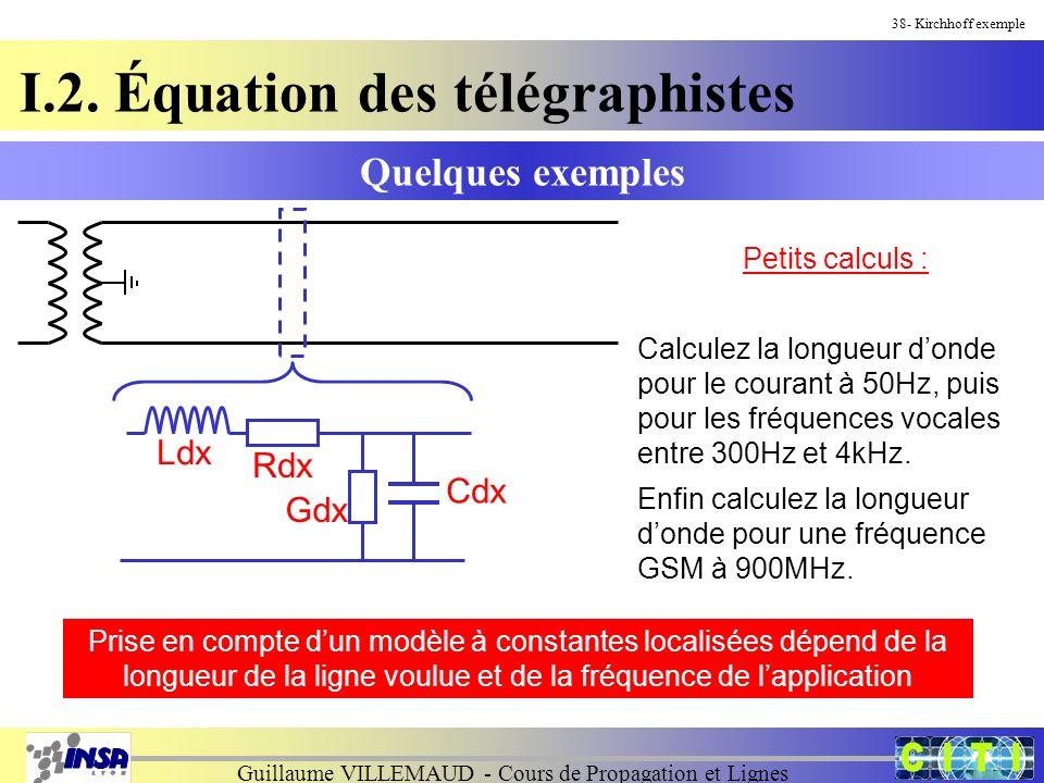 Guillaume VILLEMAUD - Cours de Propagation et Lignes Quelques exemples 38- Kirchhoff exemple Petits calculs : Calculez la longueur donde pour le courant à 50Hz, puis pour les fréquences vocales entre 300Hz et 4kHz.