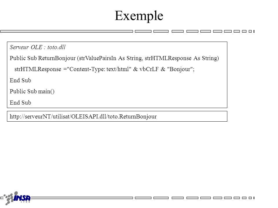 Exemple Serveur OLE : toto.dll Public Sub ReturnBonjour (strValuePairsIn As String, strHTMLResponse As String) strHTMLResponse = Content-Type: text/html & vbCrLF & Bonjour ; End Sub Public Sub main() End Sub http://serveurNT/utilisat/OLEISAPI.dll/toto.ReturnBonjour