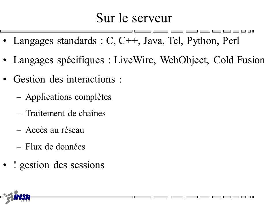 Sur le serveur Langages standards : C, C++, Java, Tcl, Python, Perl Langages spécifiques : LiveWire, WebObject, Cold Fusion Gestion des interactions : –Applications complètes –Traitement de chaînes –Accès au réseau –Flux de données .