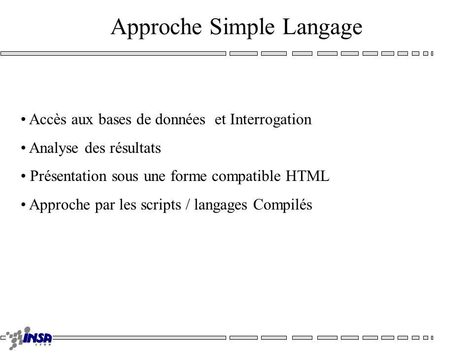Approche Simple Langage Accès aux bases de données et Interrogation Analyse des résultats Présentation sous une forme compatible HTML Approche par les scripts / langages Compilés