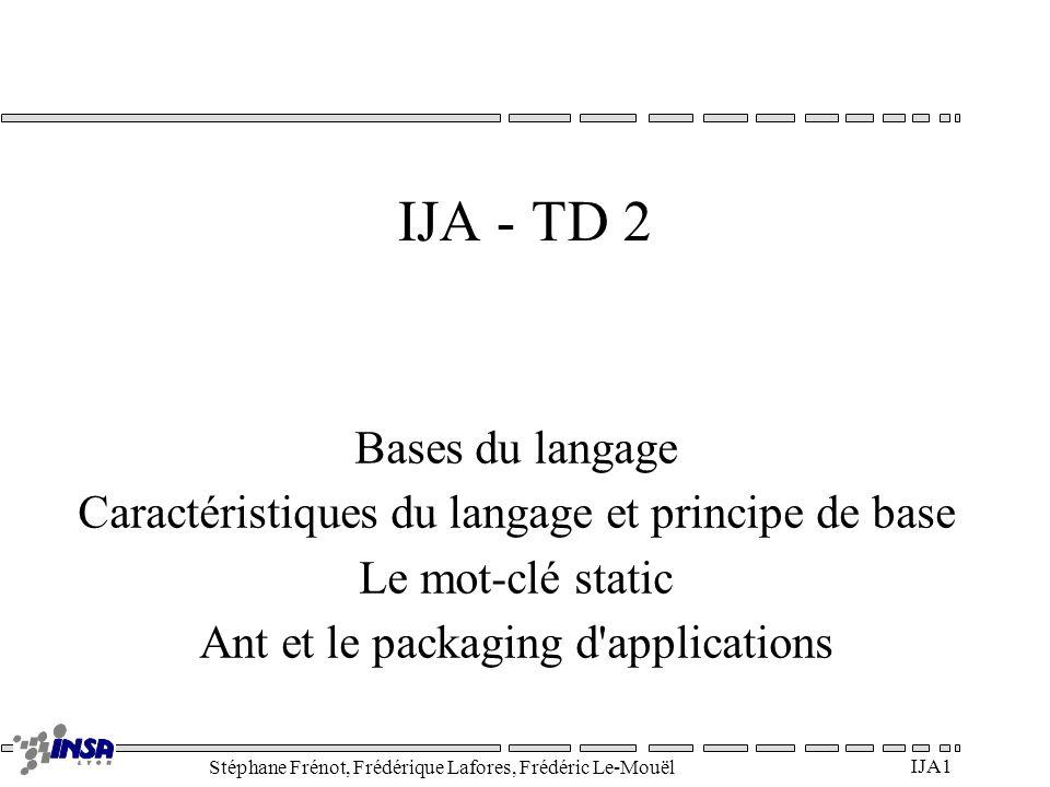 Stéphane Frénot, Frédérique Lafores, Frédéric Le-Mouël IJA2 Bases du langage Types dits primitifs (pas classes donc pas majuscules!) –byte : 1 octet –short : 2 octets –int : 4 octets –long : 8 octets –float : 4 octets –double : 8 octets –boolean : true false –char : 2 octets (Unicode) Opérateurs –Arithmétique : =+-*/% –Relationnels : <> = == != –Logiques : .