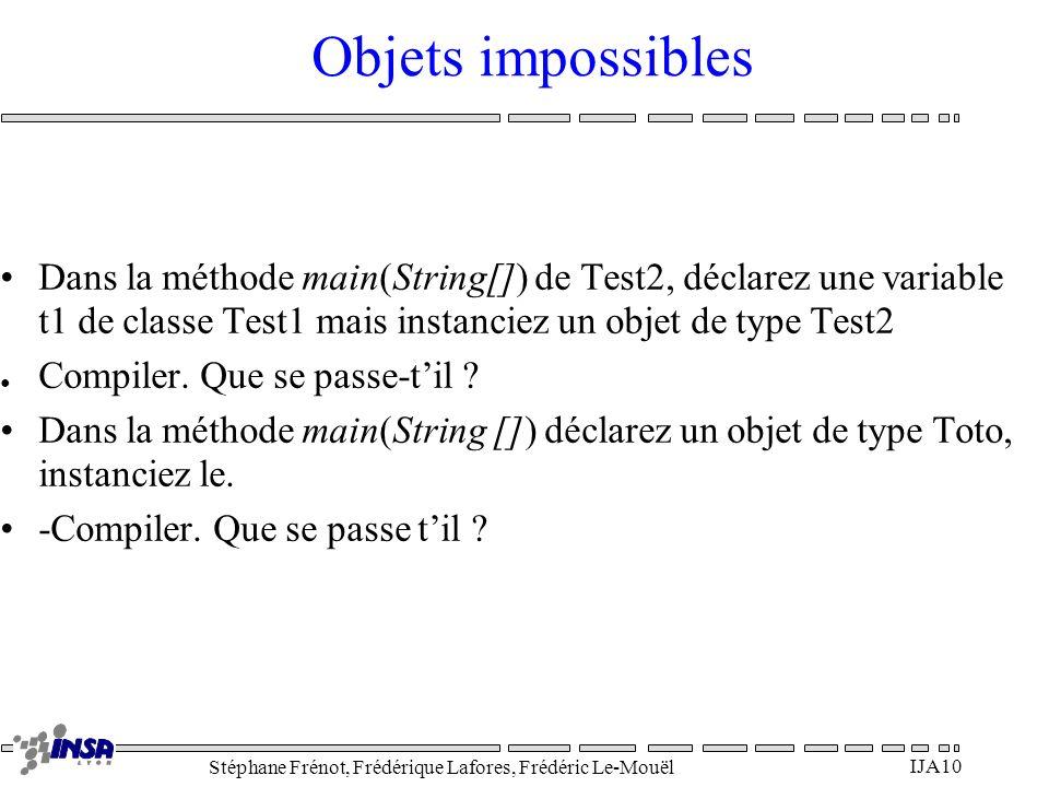 Stéphane Frénot, Frédérique Lafores, Frédéric Le-Mouël IJA10 Objets impossibles Dans la méthode main(String[]) de Test2, déclarez une variable t1 de c