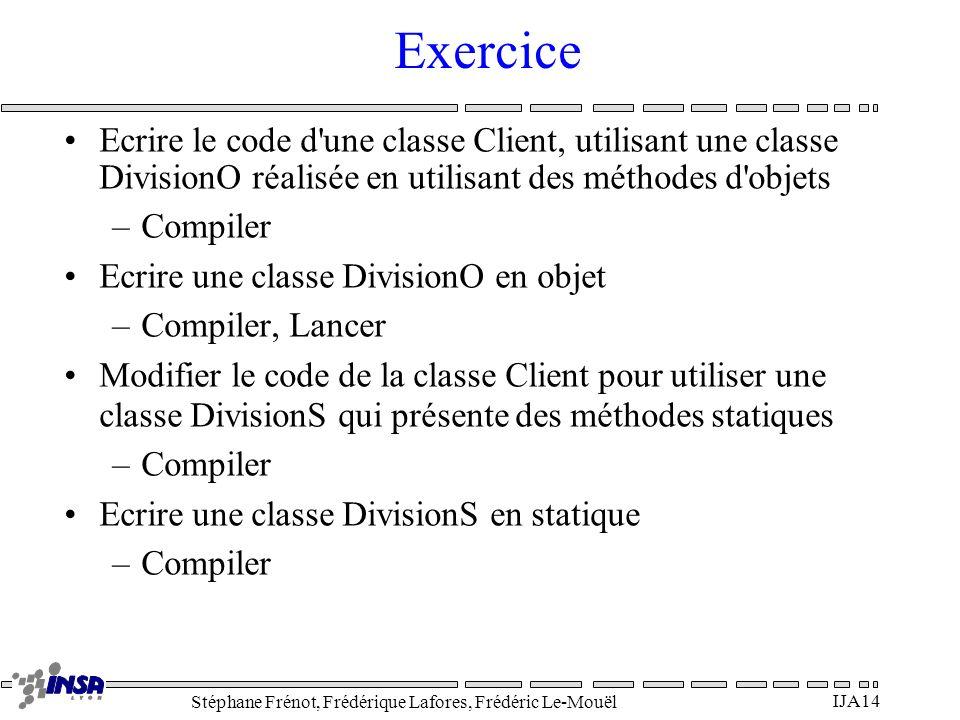 Stéphane Frénot, Frédérique Lafores, Frédéric Le-Mouël IJA14 Exercice Ecrire le code d'une classe Client, utilisant une classe DivisionO réalisée en u